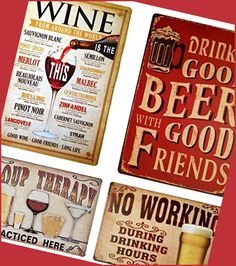 It is essential that you have an abundant supply of ice for your drinks. Many people will desire their drinks to be icy cold, especially in the summer... Tin Signs, Wall Signs, Home Bar Accessories, Home Bar Designs, Brewing Equipment, Metal Plaque, Sauvignon Blanc, Beer Brewing, Wine Drinks