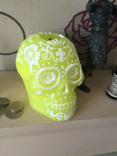 I love all of the Halloween decor at this time of year  sugar skull candle from Asda