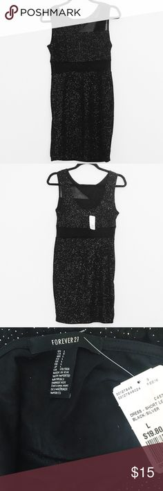 ✨NWT✨ Forever 21 Black Sparkle Mesh Cut Out Dress Black sparkly dress is super glam! Mesh cut out around waist and an asymmetrical cut out in the top. Look amazing on your next night out! New with tag from Forever 21. Forever 21 Dresses Mini