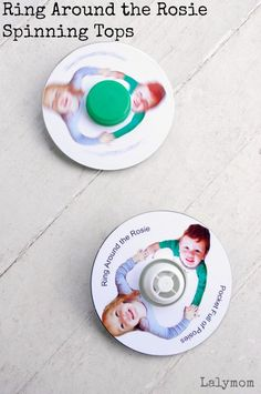 Ring Around the Rosie Craft - DIY Custom Photo CD Spinning Tops on Lalymom - how adorable are these!