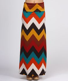 Brown Chevron Maxi Skirt  Sadly, I think that this would make me look quite wide, but I love it in theory.  Colorful!