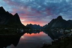 Reine Lofoten Lofoten, Aurora Borealis, Mountains, Water, Outdoor, Travel, Queen, Northen Lights, Mountaineering