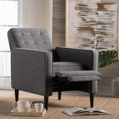 Shop for Mervynn Mid-Century Button Tufted Fabric Recliner Club Chair by Christopher Knight Home. Get free delivery On EVERYTHING* Overstock - Your Online Furniture Shop! Get in rewards with Club O! Living Room Upholstery, Living Room Chairs, Modern Recliner, Grey Armchair, Mid Century Chair, Modern Dining Chairs, Outdoor Dining, Chairs For Sale, New Living Room