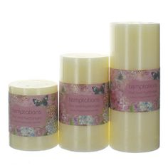 Temptations Flower Lilac Pillar From £3.95 #candle #home #flower