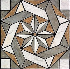 16 Porcelain Tile Medallion - Daltile's Franciscan Slate, floor or wall Stained Glass Projects, Stained Glass Patterns, Mosaic Patterns, Stained Glass Art, Barn Quilt Designs, Barn Quilt Patterns, Quilting Designs, Star Quilts, Mini Quilts