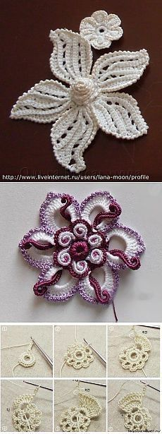 "Artes em croché ""Breathe taking-I wonder if I can figure out the Russian directions!"", ""*Beautiful pieces to add to some freeform crochet! Crochet Motifs, Crochet Flower Patterns, Freeform Crochet, Crochet Designs, Flower Applique, Doily Patterns, Modern Crochet, Love Crochet, Crochet Lace"