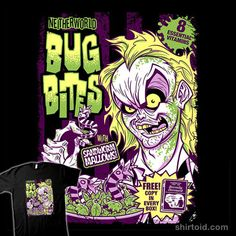 """""""Neitherworld Bug Bites"""" by Minion-Factory A cereal design inspired by Beetlejuice Neitherworld Bug Bites with Sandworm Marshmallows! Free copy of """"Handbook for the Recently Deceased"""" in every box! Very Scary, Beetlejuice, Funny Tshirts, Minions, Supernatural, Bugs, Horror, Prints, Fictional Characters"""