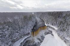 Aerial view of Tahquamenon Falls