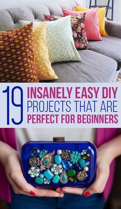 19 Insanely Easy DIY Projects That Are Perfect For Beginners arts and crafts and projects Diy Craft Projects, Diy Crafts To Sell, Diy Crafts For Kids, Easy Crafts, Arts And Crafts, Craft Ideas, Money Making Crafts, Diy Projects For Beginners, Upcycled Crafts