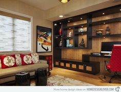 Wooden display wall could be translated into media wall. With wall covering/color reflected in media unit.