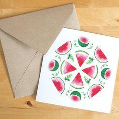 Satz von 3 Aquarell Wassermelone Mandala Grußkarten