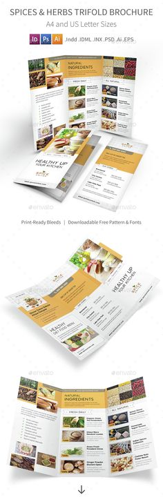 Spices & Herbs Trifold Brochure Template PSD, Vector EPS, InDesign INDD, AI Illustrator. Download here: http://graphicriver.net/item/spices-herbs-trifold-brochure/14825445?ref=ksioks