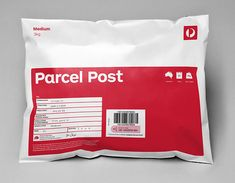 Packaging with custom sans-serif typography designed by Interbrand for Australia Post.