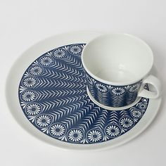 arabia cup saucer blue raija uosikkinen kaj franck finland mid century modernist