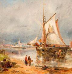 """Fishing Boats in an Estuary"", by William Joseph Julius Caesar Bond (Liverpool school)"