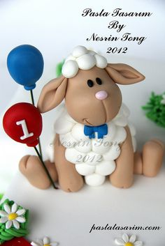 Sweet little lamb cake topper. Photo only. Fondant Toppers, Fondant Cakes, Cupcake Cakes, Cupcake Toppers, Fondant Figures, Fancy Cakes, Cute Cakes, Sheep Cake, Sheep Fondant