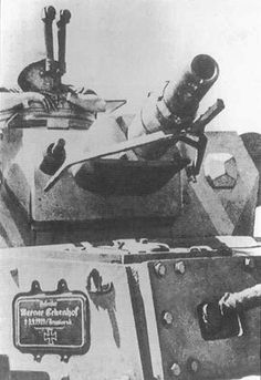 A German Panzer IV makes use of an optical rangefinder. A fallen member of the crew is memorialized in a plaque on the side. (Tank Museum), pin by Paolo Marzioli