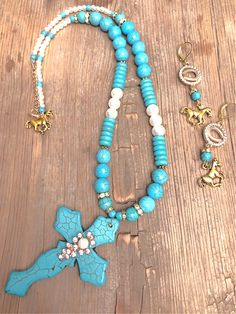 THE NOEL NECKLACE Handmade Rhinestone Pearl Turquoise Large Cross Horse Charm Beaded Gold Necklace Cowgirl Style Outfits, Rodeo Outfits, Cowgirl Fashion, Necklace Sizes, Beaded Necklace, Gold Necklace, Cowgirl Jewelry, Western Jewelry, Autumn Fashion Women Fall Outfits