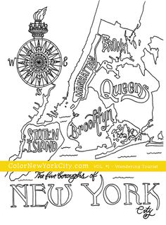 NYC Boroughs Map.  From the coloring book:  Color New York City - Volume #1 - Wandering Tourist Available now at Amazon: http://amzn.com/1517559111