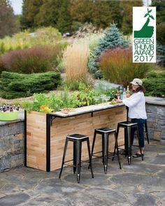 Reclaimed Wood Outdoor Bar + Tall Planter | Patio Plant-a-Bar 2'x8'