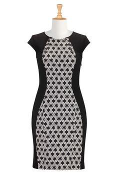 Graphic Print Colorblock Dresses, Ponte Knit Sheath Dresses Shop womens long sleeve dresses - Women's Dresses & Tops in Misses, Plus, Petite & Tall | eShakti.com