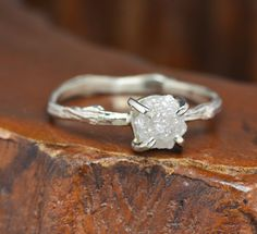 1.5 Carat Rough Diamond Engagement Ring with by PointNoPointStudio