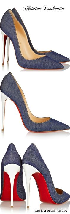 Christian Louboutin Senora Denim 100mm Red Sole Sandal, Blue/White ...