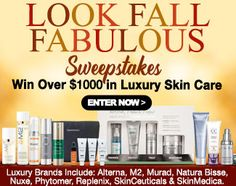 http://virl.io/rhPrjpSn - Look Fall Fabulous Sweepstakes : Win Over $1,000 in Luxury Skin Care Products! Sweeps ends 10/31/2016