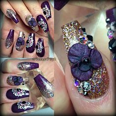 Purple and gold almond shaped nails.