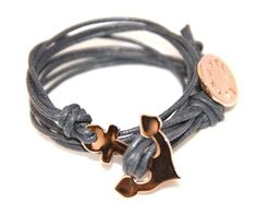 Gray Leather Cord and Rose GOld anchor