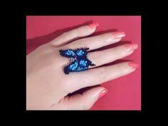 ❤️❤️❤️ Peyote o Ladrillo para Anillo Mostacilla Preciosa Tamaño Mariposa ❤️❤️❤️ Diy Beaded Rings, Beaded Jewelry, Diy Arts And Crafts, Bead Crafts, Beading Tutorials, Beading Patterns, Ring Tutorial, Peyote Beading, Beaded Animals