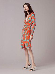 e92124439e8d06 Diane Von Furstenberg Julian Banded Silk Jersey Wrap Dress Modische  Outfits