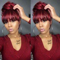 20 bun hairstyles with bangs Ponytail Hairstyles, Hairstyles With Bangs, Weave Hairstyles, Pretty Hairstyles, Weave Ponytails With Bangs, Sew In With Bangs, Red Hair With Bangs, Love Hair, Gorgeous Hair