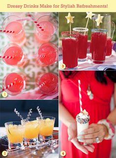Dressy red holiday drinks.