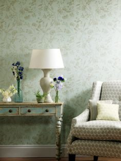 Liana wallcovering, from the Compendium collection, by Blendworth.  #Designer #Wallcoverings #Wallpapers #Flowers #Floral #Vintage