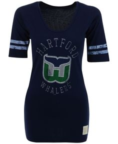 Retro Brand Women's Hartford Whalers Distressed Graphic T-Shirt