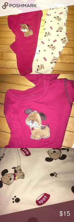 Child of Mine by Carters 24 month pajama outfit Red longsleeve pajama shirt with cute little dog and tan dogs with pop prints and dog dish with the name spot. Pajama outfit for wintertime longsleeve and pants. Gently used. Excellent used condition. 100% cotton Carter's Pajamas Pajama Sets