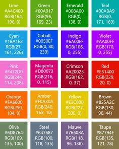 Windows Phone 8 Theme Colors (HEX & RGB)