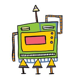 Square Robot from the Colored Robot Series.  #illustration #art #coloringbook #coloring #kids #robots #colorful #ink #brush #digitalart #pattesdemouche #instagrammies
