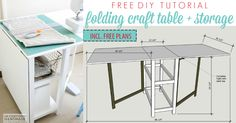 A DIY foldable craft table is an elegant and economical way to switch between an extra work surface and freed-up floor space at a moment's notice. Woodworking Ideas Small, Diy Woodworking, Coin Couture, Small Storage, Craft Storage, Storage Ideas, Paper Storage, Craft Room Tables, Craft Desk