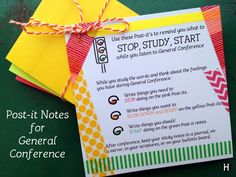 Post-it notes to help with note taking during General Conference. Easy printable to attach and give to your seminary kids, YM or YW or Primary. Young Women Lessons, Church Activities, Stem Activities, Personal Progress, General Conference, Activity Days, Relief Society, Party Favors, Law School
