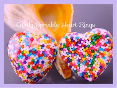 Candy Sprinkle Heart Resin Rings Sweetheart Resin by tranquilityy