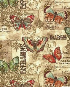 This listing is for a full or half yard of a beautiful nostalgic vintage butterfly fabric from Benartex. Parchment-like background in teal with a postcard undertone. Decoupage Vintage, Vintage Diy, Vintage Labels, Vintage Ephemera, Vintage Cards, Vintage Paper, Vintage Postcards, Watercolor Card, Art Papillon