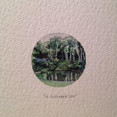 Day 362 : Makaranga Lodge gardens, a year ago today. For CJ and Nicola . 27 x 27 mm. #365paintingsforants #miniature #watercolor #makaranga #durban #garden (at Somerset West)