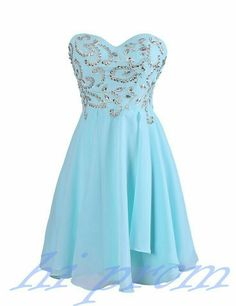Cute light blue prom dress