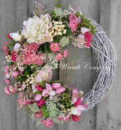 Spring Wreath Easter Garden Wreath Elegant by NewEnglandWreath Wreath Crafts, Diy Wreath, Grapevine Wreath, White Wreath, Door Wreaths, Wreath Ideas, Easter Wreaths, Holiday Wreaths, Corona Floral