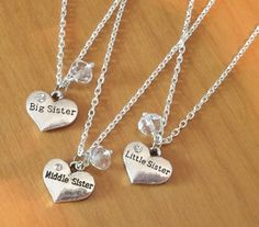 Set of 3 Sisters Necklaces, swarovski Birthstone necklaces, Little Middle Big sister, silver necklaces, anniversary sister gift Sister Necklaces For 3, Bff Necklaces, Sister Jewelry, Diamond Cross Necklaces, Best Friend Jewelry, 14k Gold Necklace, Birthstone Necklace, Drop Necklace, Silver Necklaces