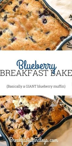 (Basically a GIANT blueberry muffin) This blueberry breakfast bake is so moist, sweet and smells INCREDIBLE! Giant Blueberry Muffin Recipe, Blueberry Breakfast Bake Recipe, Baked Breakfast Recipes, Blueberry Recipes, Breakfast Cake, Breakfast Ideas, Blueberry Ideas, School Breakfast, Second Breakfast