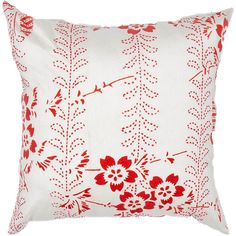 Jaipur Anjo Poppy Throw Pillow   Pure Home #red #floral. Family room