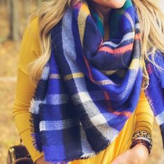• royal blue tartan blanket scarf fringe ends • Gorgeous color! Also available in red. Last ones! Brand new still in wrap. 100% acrylic Accessories Scarves & Wraps